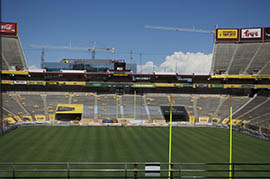 Upper-deck sections of Sun Devil Stadium's north end zone have already been removed as part of a $260 million renovation of the 56-year-old stadium.