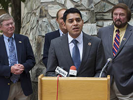 Rep. Steve Montenegro, R-Avondale, discusses his proposed Arizona Civics Education Initiative at a news conference Wednesday outside the State Capitol.