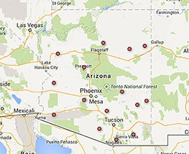 Poverty rates in Arizona countes in 2013 ranged from 16.1 percent in Yavapai County to 40.1 percent in Apache County. Data was available for 10 of the 15 counties. Click on the interactive map for details by county.