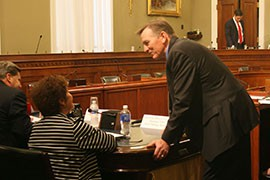 Rep. Paul Gosar, R-Prescott, talks to Hualapai counciil member Jean Pagilawa before a House committee hearing on a water-rights deal between the tribe, the state and a mining company.