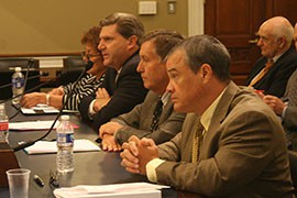 Witnesses testifying on the water-rights bill included, from left, Hualapai Council Member Jean Pagilawa, Francis McAllister of Freeport Minerals Corp., Thomas Buschatzke of the Arizona Department of Water Resources and the Bureau of Indian Affairs Michael Black. All but Black supported the bill.
