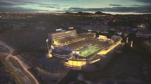 ASU Football Coach Todd Graham and Athletic Director Ray Anderson pledged $500,000 each to the Sun Devil Stadium project renovations. They believe this will drive more support to ASU athletics. Reporter <b> Kari Osep </b> gives us the details.