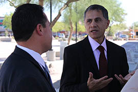 U.S. Deputy Transportation Secretary Victor Mendez, right, visited light-rail stations proposed for south Phoenix during a tour Tuesday.