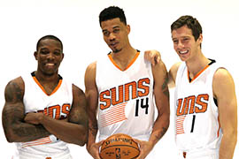 From left: Eric Bledsoe, Gerald Green and Goran Dragic pose at Phoenix Suns media day Monday.