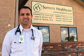 Dr. Darrell Brimhall, who practices family medicine in Snowflake, is a graduate of the state's Rural Health Professions Program, which aims to bring more doctors to practice in rural areas. He is a new doctor at the Summit Healthcare Snowflake Medical Center, where his cousin Chad Brimhall is also a doctor.