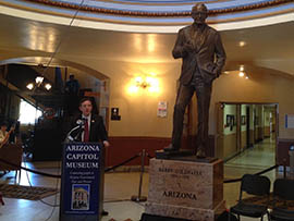 At its unveiling in March, Secretary of State Ken Bennett discusses a new statue honoring late U.S. Sen. Barry M. Goldwater that will represent Arizona at the U.S. Capitol.