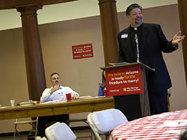 The Rev. David Felten, senior minister at the Fountains United Methodist Church in Fountain Hills, addresses a prayer breakfast Thursday at which religious leaders shared their support for same-sex marriage.