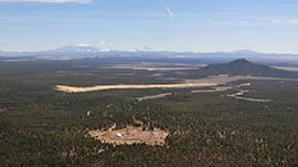 The Canyon Mine in the Kaibab National Forest south of the Grand Canyon, opened in the 1980s, is shown from the air.