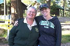 Ann Lynch (left) and Anne Casey were both part of the Mount Graham red squirrel census this year. Lynch did research on the squirrels' habitat while Casey led a group of people into the forest to count.