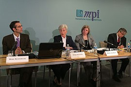 Doris Meissner, second from left, discusses the Migration Policy Institute's findings from a comprehensive analysis of 10 years of deportations from the U.S.
