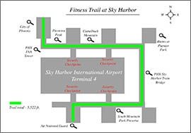 See the route and scene stops of the Fitness Trail inside Phoenix Sky Harbor International Airport's Terminal 4.