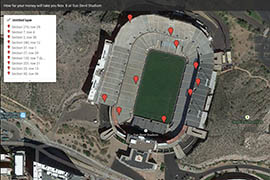 Use this interactive map to review ticket prices as of Thursday, Oct. 30, for the Notre Dame/Arizona State football game.