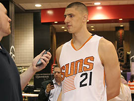 Phoenix Suns center Alex Len said an ankle problem that limited him during his rookie season is behind him. But now he must recover from a broken pinky.