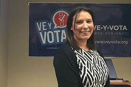 Laura Maristany of the National Association of Latino Elected and Appointed Officials said her group was urging Latino voters across the country to channel their frustration with the lack of immigration reform into action by voting on Election Day.