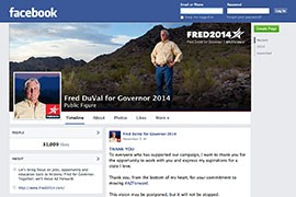 Democratic gubernatorial nominee Fred DuVal had more than 30,000 Facebook