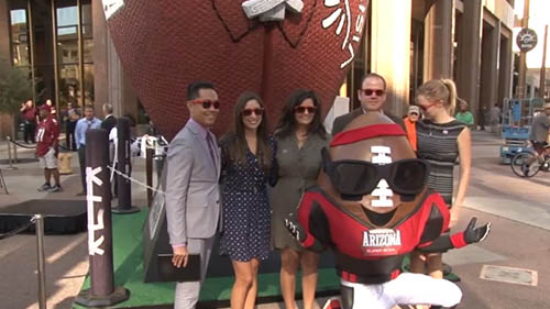 The 7,000-pound football unveiled Monday will occupy a corner on Washington St. and Central Ave. until after the Super Bowl in February. Reporter <b> Colton Krolak </b> was there for the big unveiling.