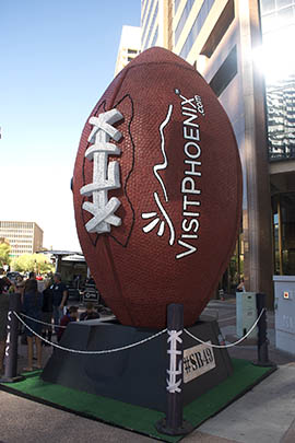 The steel, wood and foam sculpture, which is 20 feet high and 7,000 pounds, will stand at the corner of Central Avenue and Washington Street until after the Feb. 1 Super Bowl in Glendale.