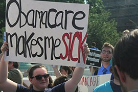 Protesters outside the Supreme Court in 2012 made their feelings known about the Affordable Care Act, which was later upheld by the high court.