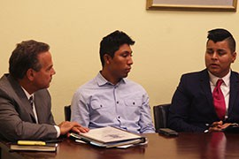 Phoenix resident Mario Hernandez, center, joined other advocates who came to the Capitol to talk about challenges they have faced gay immigrants who are in this country illegally.