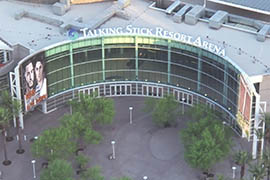 An artist's rendering shows how the name Talking Stick Resort Arena will be displayed above the entrance.