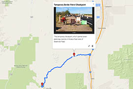 See a map of the area where the Border Patrol checkpoint is located.