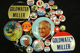 Former Arizona Sen. Barry Goldwater was swamped in hisi 1964 presidential campaign, taking just 52 electoral votes and six states against President Lyndon Johnson