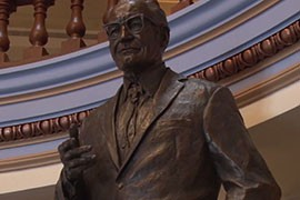 A statue of former Arizona senator and GOP presidential nominee Barry Goldwater in the State Capitol is waiting a move to the U.S. Capitol where it will be permanently displayed.