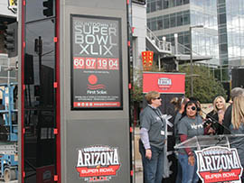 A solar-powered clock unveiled Wednesday in downtown Phoenix will count down to the Super Bowl, which will be held Feb. 1 in the Valley.
