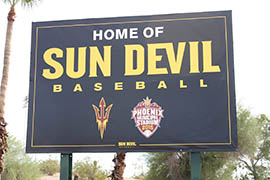 Phoenix Municipal Stadium now carries ASU branding on signs, atop the dugouts and around the facility.