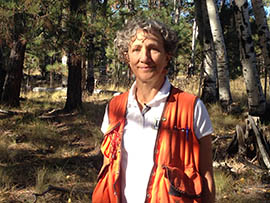 Mary Lou Fairweather, Flagstaff-based forest pathologist for the Forest Service, stands in front of a grove of aspens to discuss about some of the problems facing the trees.