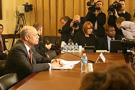 Homeland Security Secretary Jeh Johnson prepares to testify before the House Homeland Security Committee where he defended President Barack Obama's recent executive action on immigration.
