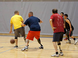 The Stand Up Amputee Basketball League plays games at the Virginia G. Piper Sports and Fitness Center for Persons with Disabilities in Phoenix.