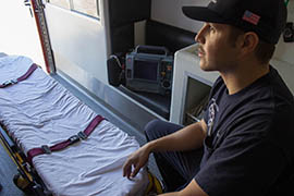 Gabe Ulibarri, an emergency medical technician with the Tempe Fire Department, says paramedics move quickly when responding to a suspected overdose call. Tempe protocol is to transport overdose cases to the hospital as quickly as possible.