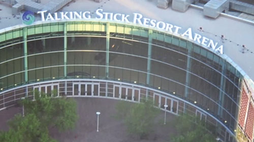 Arena employees gathered for the renaming of the venue that has been home to the Phoenix Suns, Phoenix Mercury and the Arizona Rattlers for more than a decade. It's the second name change since the complex opened as America West Arena in 1992.
