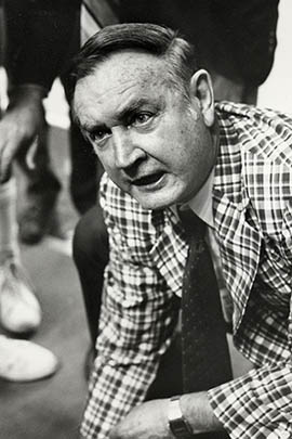 Former Arizona State basketball coach Ned Wulk, known for his fiery personality, coaches a game.