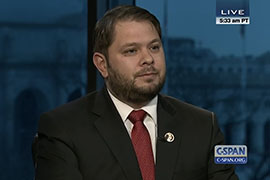 In an interview before Wednesday's vote, Rep. Ruben Gallego, D-Phoenix, said House Republicans were holding the Department of Homeland Security funding ''hostage'' in hopes of ''placating the Tea Party base'' of the GOP.
