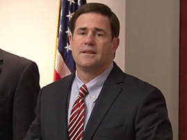 Gov. Doug Ducey answers reporters' questions about his budget proposal.