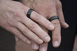 Jean and Howard Somers wear black rings to raise awareness of veteran suicide. Their son Daniel, who served in Iraq, committed suicide in 2013 after the Veterans Affairs hospital in Phoenix turned him away while he was having a mental health crisis.