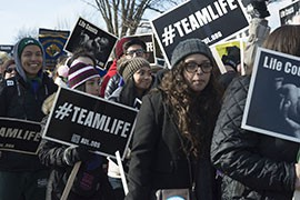 St. Mary's High School senior Saul Roman, far left, was at his second March for Life. He said students have a ''mission'' to try to help the unborn.