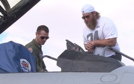 Pro Bowl Players from the Atlanta Falcons, Baltimore Ravens, Buffalo Bills, New York Giants and New York Jets meet Air Force members at Luke Air Force Base as part of the NFL's Play 60 Blitz.