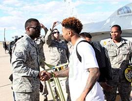 Odell Beckham Jr. greets Air Force members at Luke Air Force Base in Glendale, AZ.