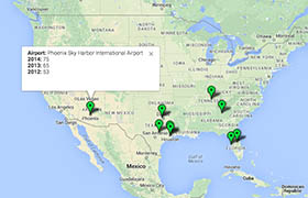 Click on the map to review seizures at the top 10 airports during the past three years.