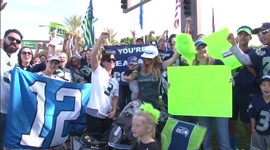 The Seahawks landed in Phoenix on Sunday. Their fans made them feel right at home.