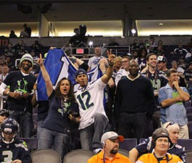 Seattle Seahawks fans make their presence known at Super Bowl Media Day.