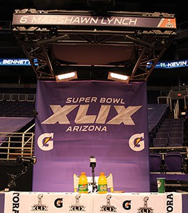 Marshawn Lynch's podium sits vacant after he made a five-minute appearance during the Seahawk portion of Media Day.