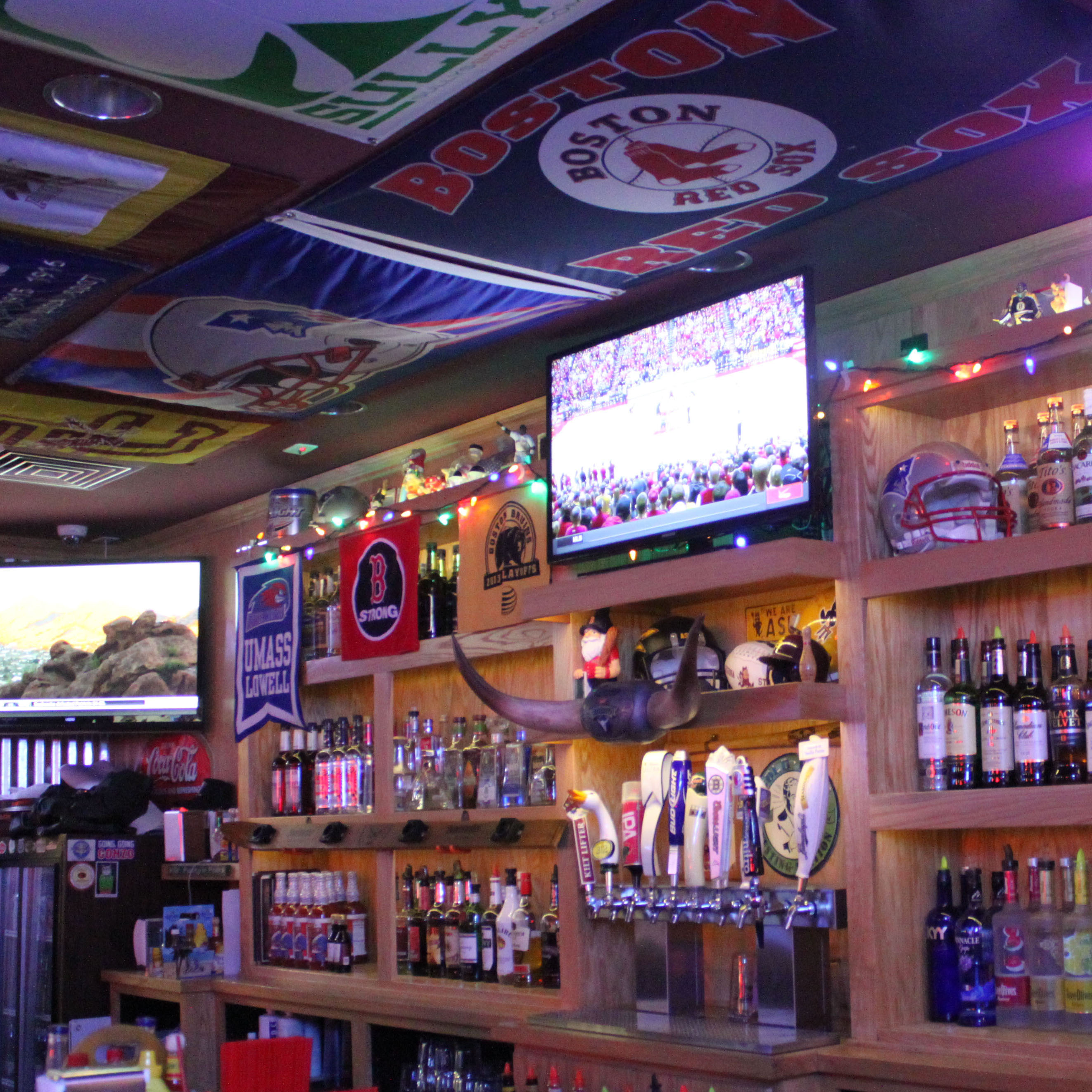 Baer's Den is decorated with memorabilla from all Boston teams.