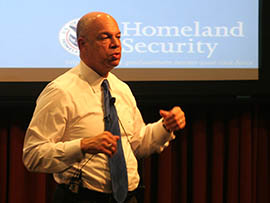 Homeland Security Secretary Jeh Johnson discusses the border Wednesday at Arizona State University's downtown Phoenix campus.