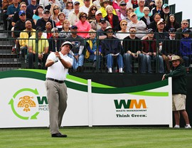 Former Arizona State University golfer Phil Mickelson tees off on hole number one during the first round of the Waste Management Phoenix Open. Photo by Meghan Kuebler