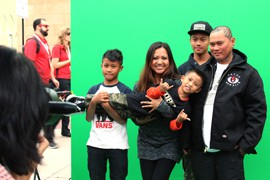 """One feature at """"Live It to Believe It,"""" a Super Bowl Central area promoting Mexico, provides attendees photos superimposing their image in front of that country's landmarks."""