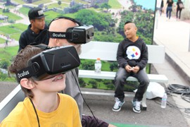 Super Bowl Central attendees visiting an area promoting tourism to Mexico had the chance to take a virtual reality flight over Mexico City.